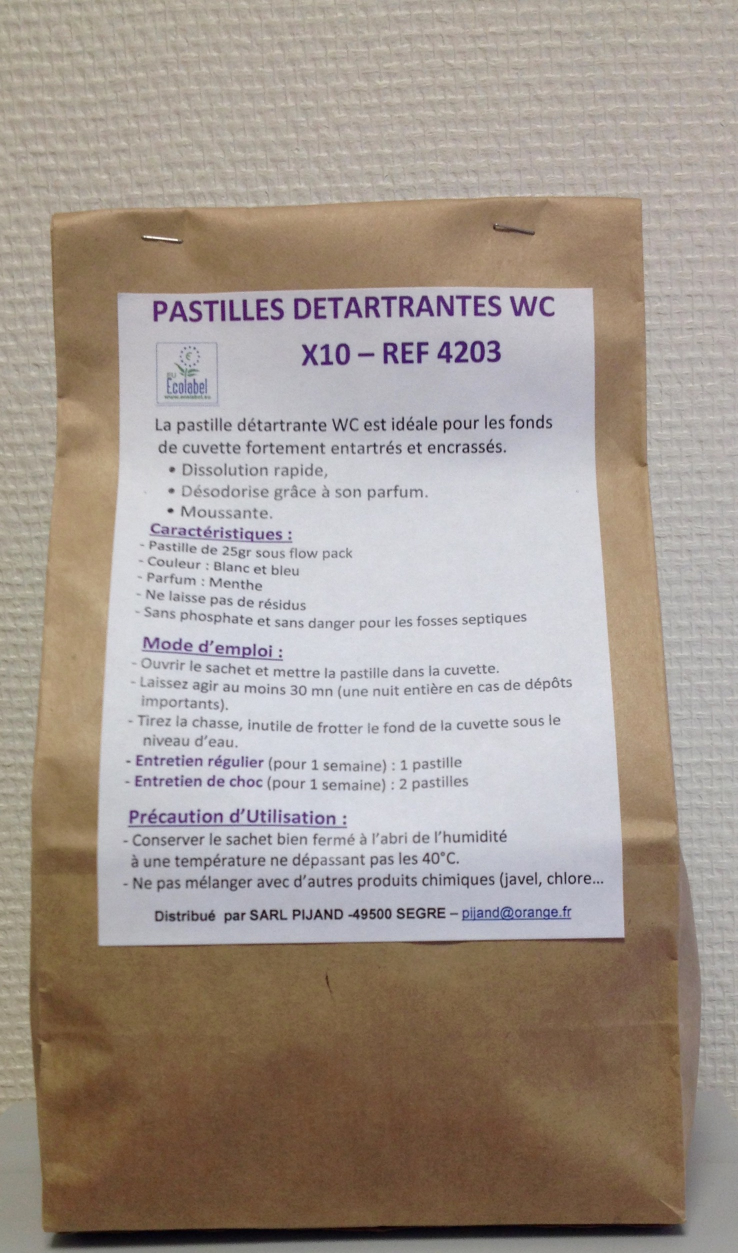 Pastille de détartrage WC